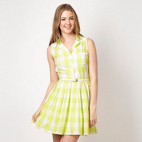 H! by Henry Holland - Designer lime green checked day dress