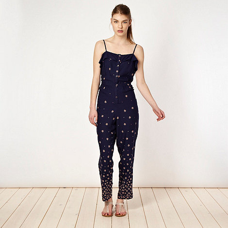 H! by Henry Holland - Designer navy floral border jumpsuit