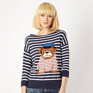Dark blue striped pug jumper