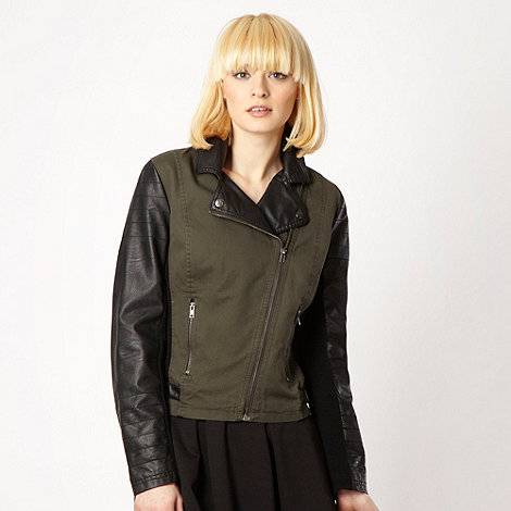 H! by Henry Holland - Khaki faux leather sleeved biker jacket