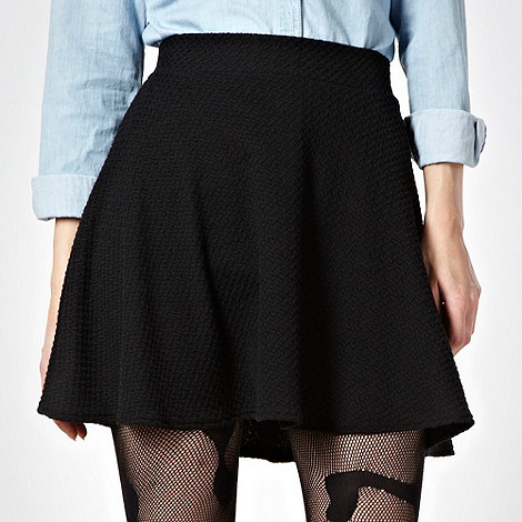 H! by Henry Holland - Black textured skater skirt