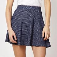 Designer navy textured skater skirt