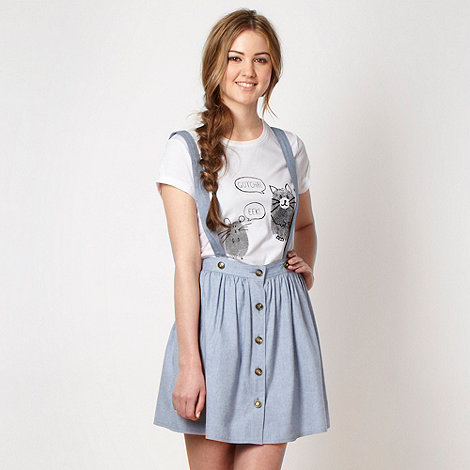 H! by Henry Holland - Designer pale blue chambray skirt and braces