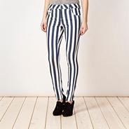 Designer dark blue striped trousers