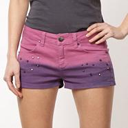 Designer pink graduating studded shorts