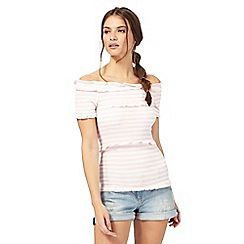H! by Henry Holland - Pink striped print ruffle neck top