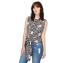 H! by Henry Holland - Black floral print self-tie top