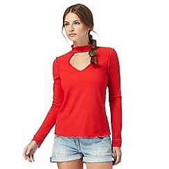 H! by Henry Holland - Dark red ribbed choker top