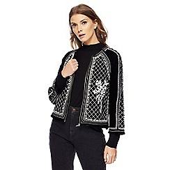 H! by Henry Holland - Black embroidered pearl embellished velvet jacket