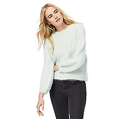 H! by Henry Holland - Pale green eyelash knit balloon sleeves jumper