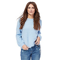 H! by Henry Holland - Pale blue eyelash knit balloon sleeves jumper