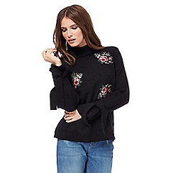 H! by Henry Holland - Black floral embroidered turtle neck jumper