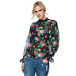 H! by Henry Holland - Multi-coloured rose print sheer frilled high neck blouse