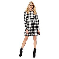 H! by Henry Holland - Black checked pure cotton long sleeve mini dress