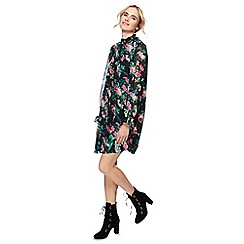 H! by Henry Holland - Multi-coloured floral print high neck long sleeve mini shift dress