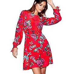 H! by Henry Holland - Red floral print long sleeve mini tunic dress