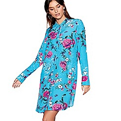 H! by Henry Holland - Turquoise oriental floral print long sleeve mini shirt dress