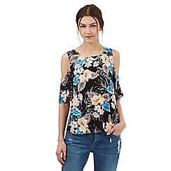H! by Henry Holland - Multi-coloured floral print cold shoulder top