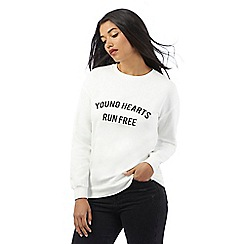 H! by Henry Holland - Ivory 'Young hearts run free' print jumper