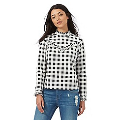 H! by Henry Holland - Black and white gingham checked print shirt