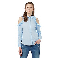 H! by Henry Holland - Light blue frilled cold shoulder shirt