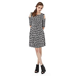 H! by Henry Holland - Black and white cat print cold shoulder dress