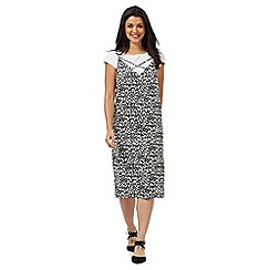 H! by Henry Holland - Black and white animal print slip midi dress