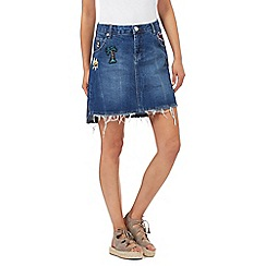 H! by Henry Holland - Blue applique badge denim skirt