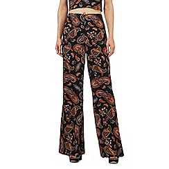 H! by Henry Holland - Black paisley print wide leg trousers