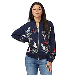 H! by Henry Holland - Navy hummingbird embellished bomber jacket