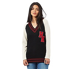 H! by Henry Holland - Black and Ivory varsity knit jumper