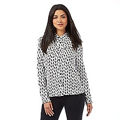 H! by Henry Holland - White cat print frill blouse