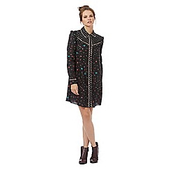 H! by Henry Holland - Black polka dot and floral print western shirt dress
