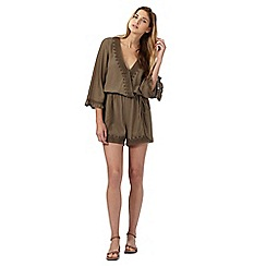 H! by Henry Holland - Khaki crochet trim playsuit