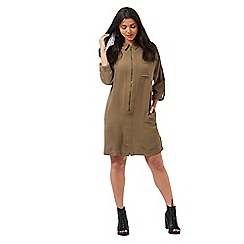 H! by Henry Holland - Khaki zip front utility shirt dress