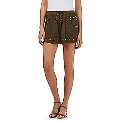 H! by Henry Holland - Khaki embroidered shorts