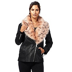 H! by Henry Holland - Black contrasting faux fur trim biker jacket