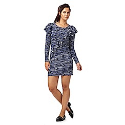 H! by Henry Holland - Dark blue and black zebra print frilled detail dress