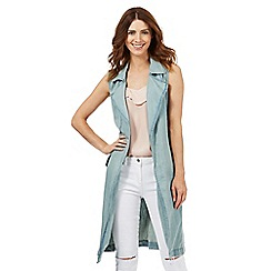 H! by Henry Holland - Light blue sleeveless denim duster jacket