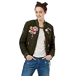 H! by Henry Holland - Green badge applique bomber jacket