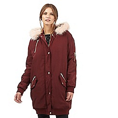 H! by Henry Holland - Dark red bomber parka jacket