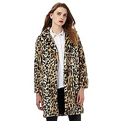 H! by Henry Holland - Brown faux fur leopard print coat