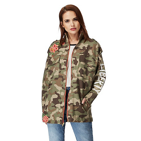 H! by Henry Holland - Khaki camo embroidered jacket