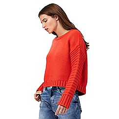 H! by Henry Holland - Orange ribbed cropped jumper