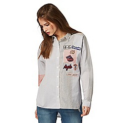 H! by Henry Holland - Light blue badge embroidered shirt