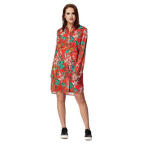 H! by Henry Holland - Red tiger print long sleeve knee length shirt dress