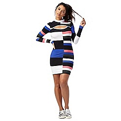 H! by Henry Holland - Multi-coloured colour block high neck long sleeve mini bodycon dress