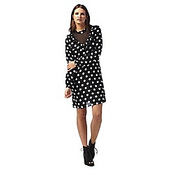 H! by Henry Holland - Black polka dot print high neck long sleeve knee length shift dress