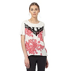H! by Henry Holland - White floral print lace top