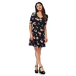 H! by Henry Holland - Black rose print V-neck mini tea dress